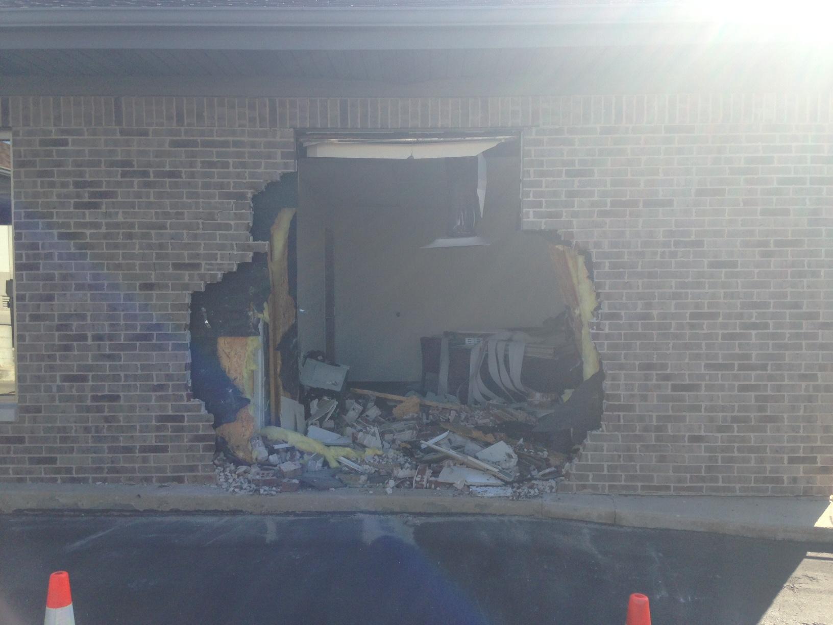 truck crashes into howard bank