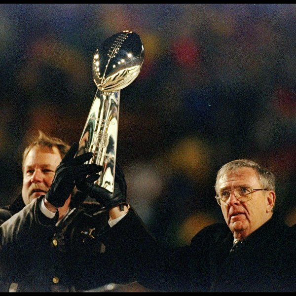 Mike Holmgren and Ron Wolf Super Bowl trophy