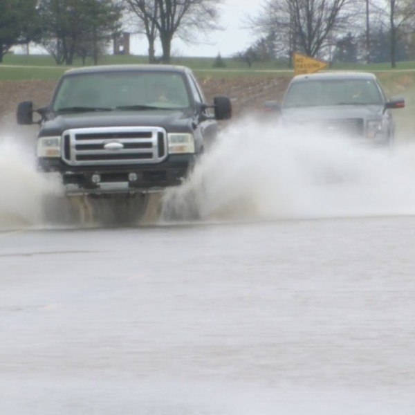 Rainfall causes street flooding in Calumet County