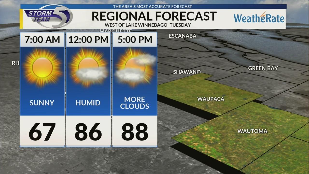 Regional Forecast: Areas West of Lake Winnebago 8/13