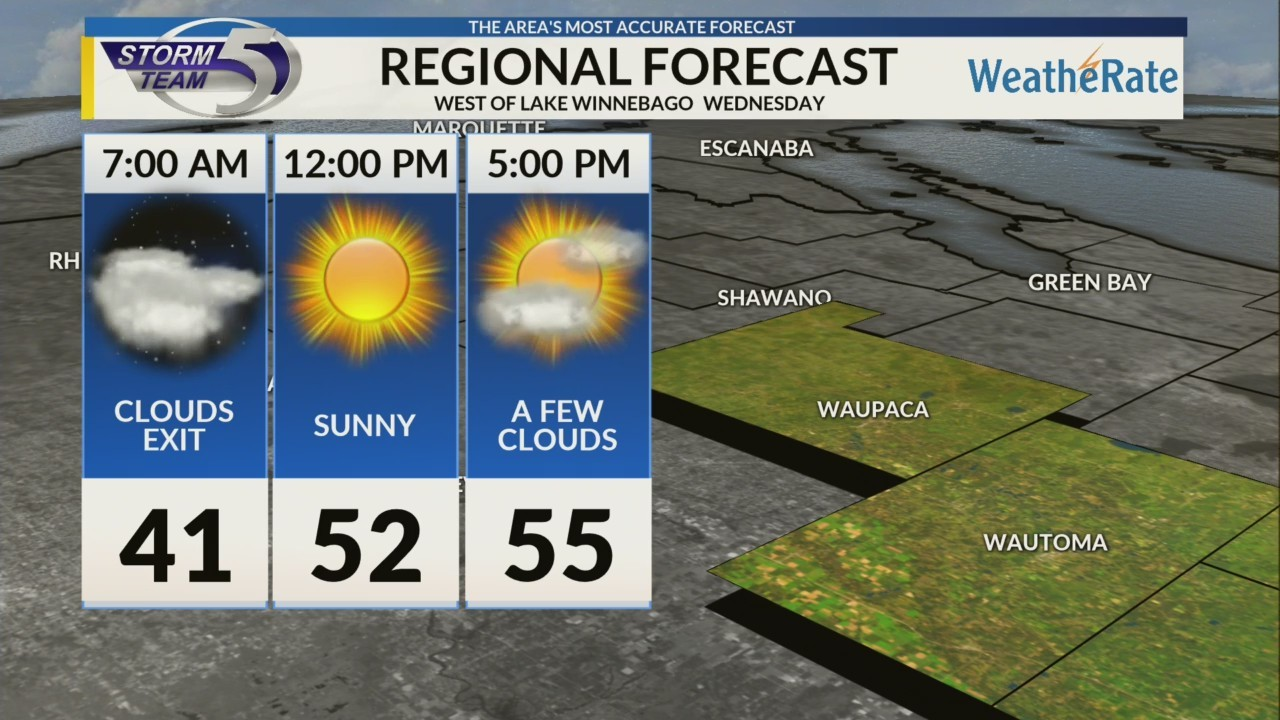Regional Forecast: Areas West of Lake Winnebago 10/31