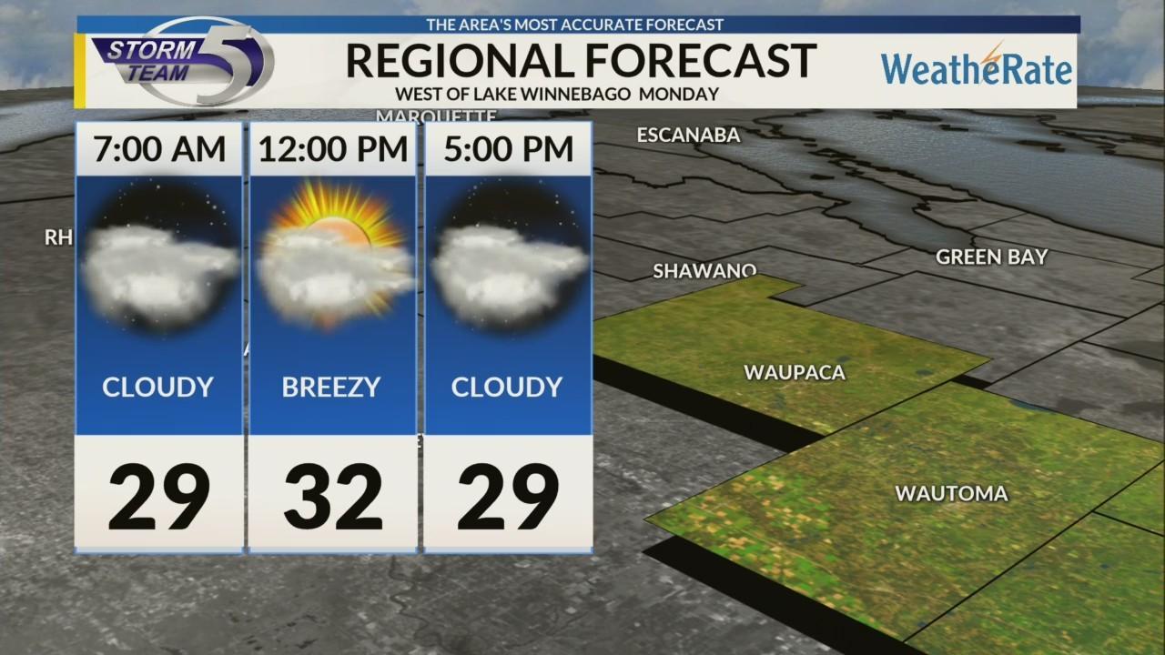 Regional Forecast: Areas West of Lake Winnebago 12/3