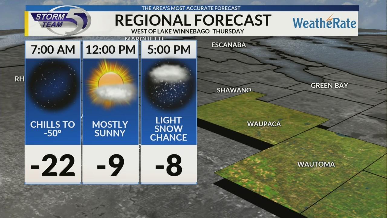 Regional Forecast: Areas West of Lake Winnebago 1/31