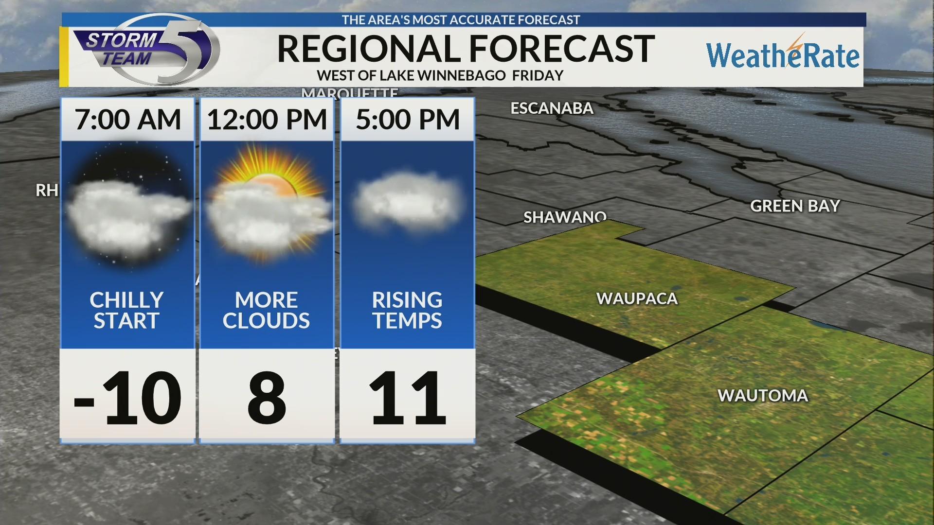 Regional Forecast: Areas West of Lake Winnebago 2/1