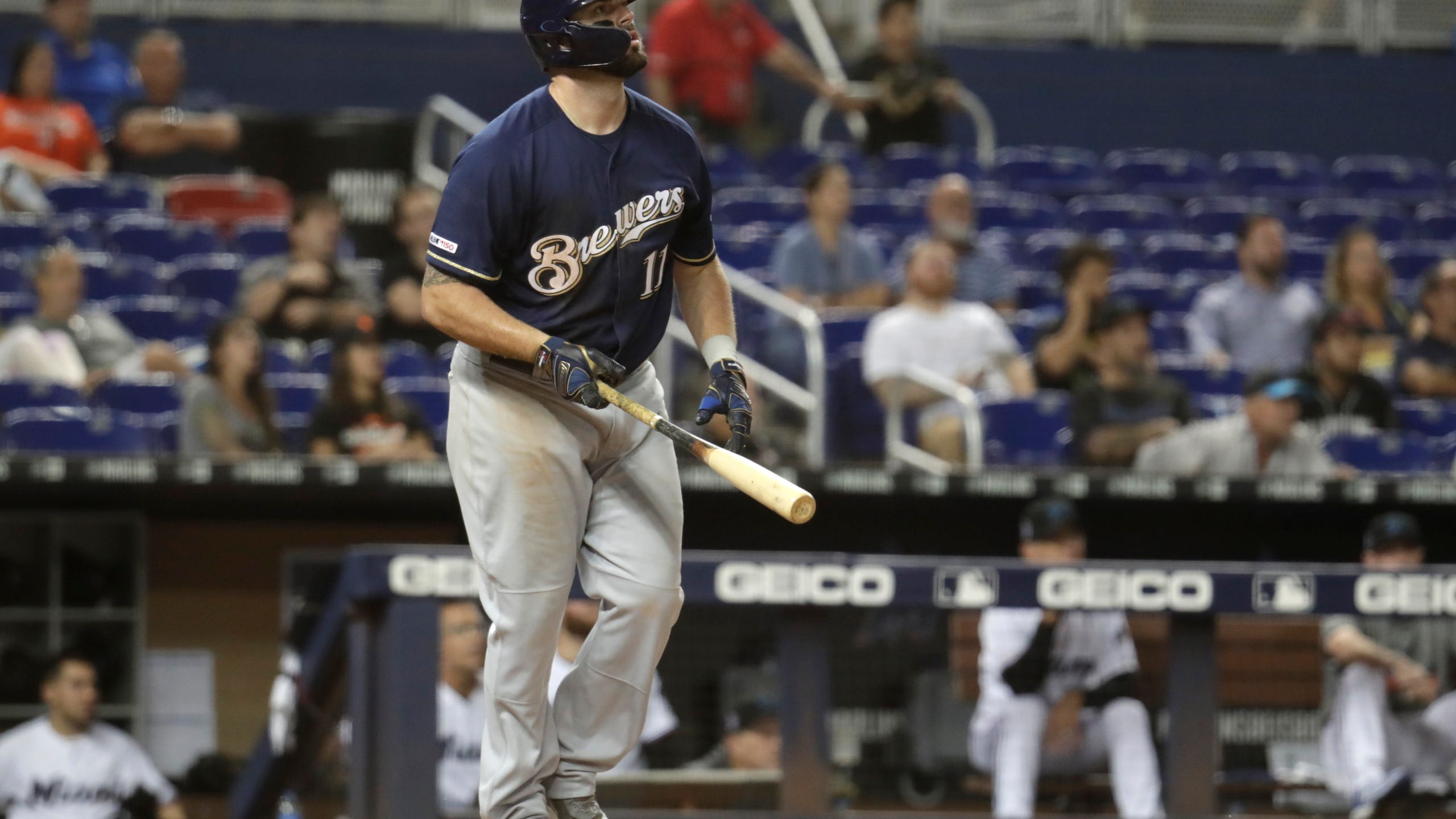 low priced d4722 7d86f Moustakas hits 2 HRs, Brewers minus Yelich top Marlins 7-5 ...