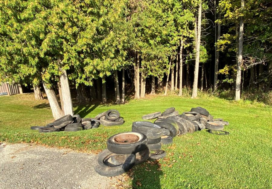 60+ tires dumped at local park, Door County Sheriff looking for those responsible
