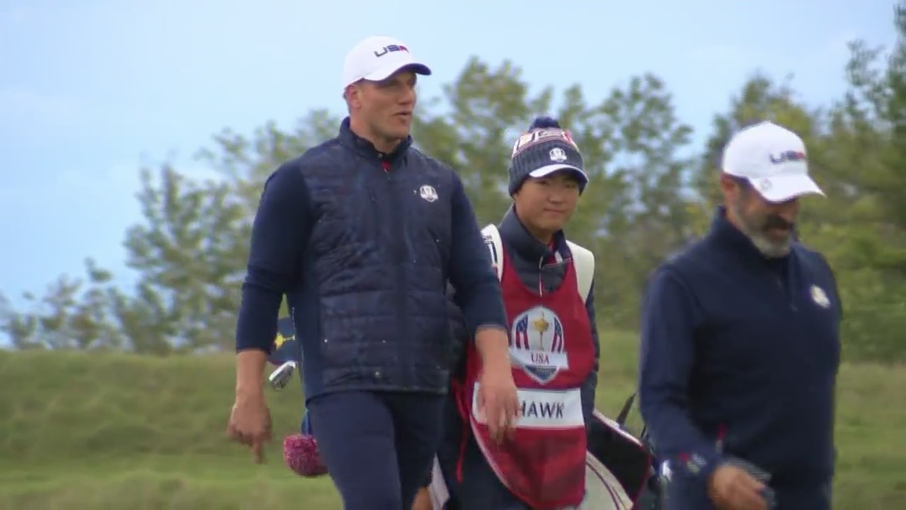 Former Packers player A.J. Hawk is one of a dozen celebrities who participated in the Celebrity Matchup at the 2020 Ryder Cup on Sept. 23, 2021. (WFRV)