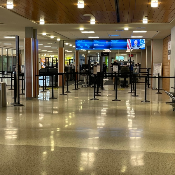 A quiet Monday morning at the airport in Appleton on Oct. 18, 2021, ahead of the expected busy holiday rush. (WFRV)